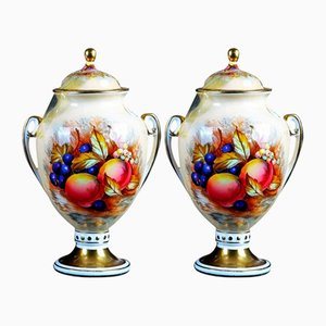 Antique Polychrome Decorated Porcelain Vases, Set of 2
