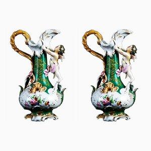 Florale antike Porzellankrüge in Smaragdgrün, 2er Set