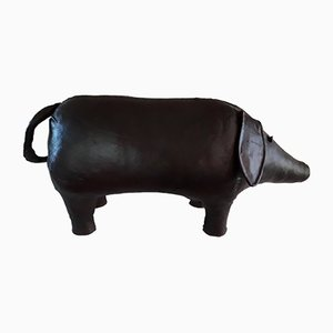 Large Vintage Leather Pig Ottoman by Dimitri Omersa for Omersa, 1960s