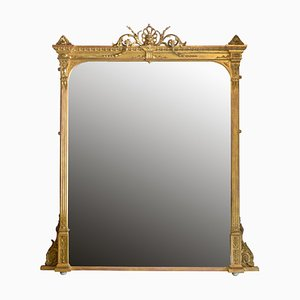 Antiker englischer Spiegel mit vergoldetem Holzrahmen, 1890er