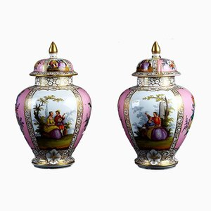 Antique Pink & White Porcelain Vases, Set of 2