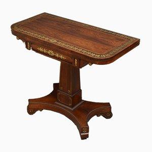 Mesa de juegos antigua Regency de palisandro de latón con incrustaciones