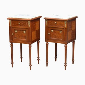 Antique Mahogany Bedside Cabinets, 1900s, Set of 2