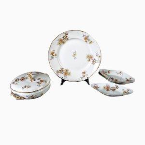 Antikes Geschirrset aus weißem und geflammtem Porzellan