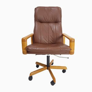 Vintage Danish Leather Executive Swivel Office Chair, 1960s