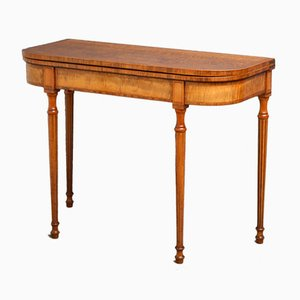 Tavolo da gioco Giorgio III antico in sicomoro