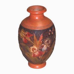 Vaso vintage policromo floreale in legno di H. Votier