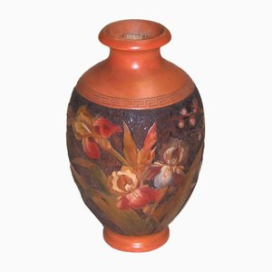 Vintage Wood and Polychrome Floral Vase by H. Votier