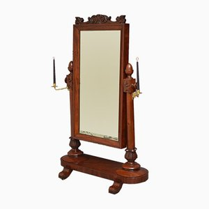 Antique William IV Mahogany Cheval Mirror