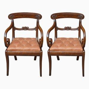 Paar William IV Stühle aus Mahagoni, 2er Set