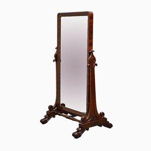 Espejo Cheval William IV antiguo de caoba