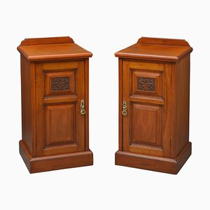 Late Victorian Walnut Bedside Cabinets, 1880s, Set of 2