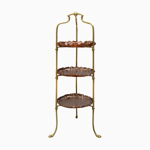 Antique Edwardian Copper & Brass Cake Stand, 1900s