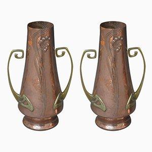 Vases Art Nouveau en Cuivre, 1900s, Set de 2