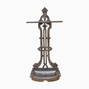 Antique French Cast Iron Umbrella Stand, 1880s