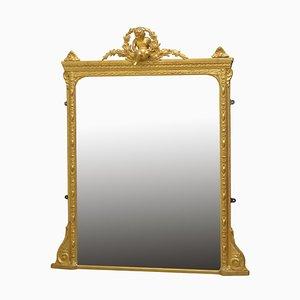 Espejo de repisa antiguo victoriano tardío de madera dorada