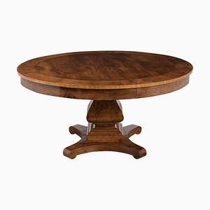 Round Empire Style Burl Veneers Center Table, 1900s