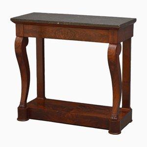 Table Console Regency Antique en Acajou et Marbre