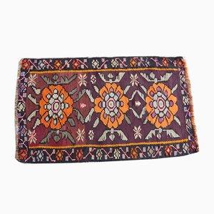 Alfombra kilim de lana tejida a mano con motivos florales, años 70