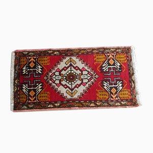 Alfombra turca pequeña tejida a mano, años 70