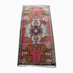 Small Vintage Turkish Red Wool Pile Hand Knotted Rug, 1970s