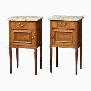 Antique Oak Bedside Cabinets, 1900s, Set of 2
