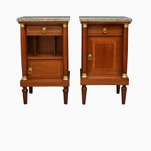 Antique Mahogany Bedside Cabinets, 1900s, Set of 2