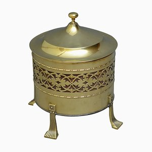 Secchiello edoardiano antico in ottone, inizio XX secolo