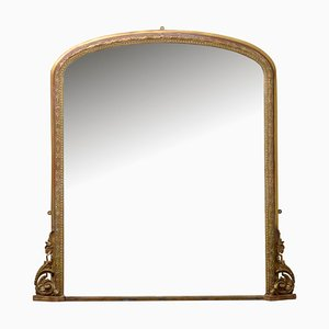 Large Victorian Overmantel Giltwood Mirror, 1870s