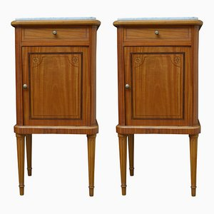 Antique Satinwood Bedside Cupboards, 1900s, Set of 2