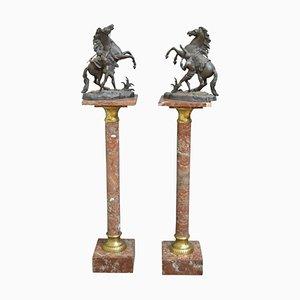 Columnas victorianas de mármol, década de 1880. Juego de 2
