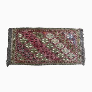 Alfombra kilim pequeña tejida a mano, años 70