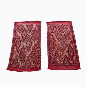 Alfombras Kilim turcas vintage en rojo, años 70. Juego de 2