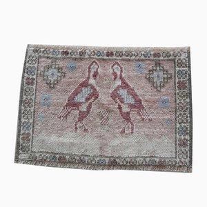 Kleiner Vintage Oushak Teppich mit Vogelmotiven, 1970er
