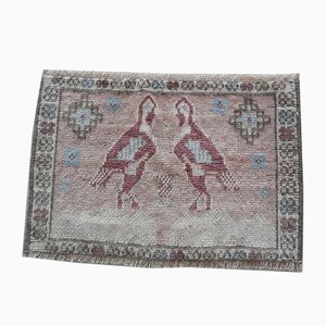 Small Vintage Oushak Rug with Bird Motifs, 1970s