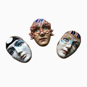 Máscaras vintage de cerámica de Faience Pottery. Juego de 3