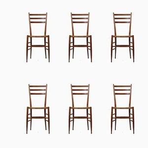 Italienische Vintage Esszimmerstühle mit Gestell aus Buche & Sitzgeflecht, 1950er, 6er Set