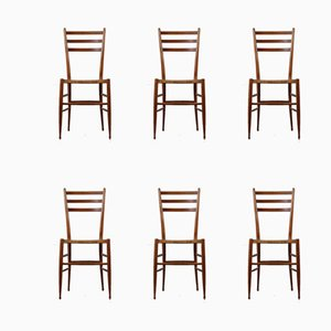 Vintage Italian Beech and Indian Cane Dining Chairs, 1950s, Set of 6