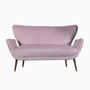 Divano a due posti in velluto rosa, anni '50