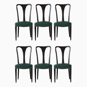 Italienische Vintage Esszimmerstühle mit Sitz aus Kunstleder & ebonisiertem Holzgestell, 1950er, 6er Set