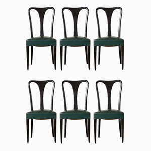 Vintage Italian Ebonized Wood & Leatherette Dining Chairs, 1950s, Set of 6