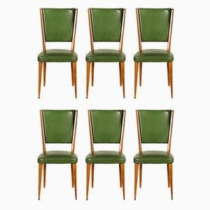 Italienische Vintage Esszimmerstühle mit Bezug aus Kunstleder, 1960er, 6er Set