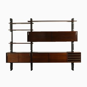 Vintage Italian Lacquered Wood & Veneer Wall Unit from Amma, 1960s
