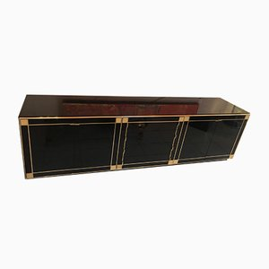 Black Lacquer and Gilt Gold Buffet by Willy Rizzo for Mario Sabot, 1970s