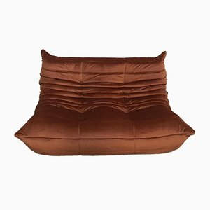 Rust Brown Velvet Loveseat by Michel Ducaroy for Ligne Roset, 1970s
