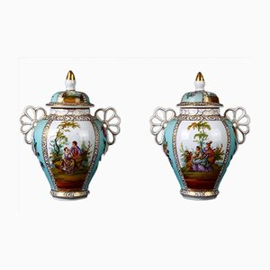 Kleiner antiker Porzellanspiegel mit dekoriertem Deckel, 2er Set