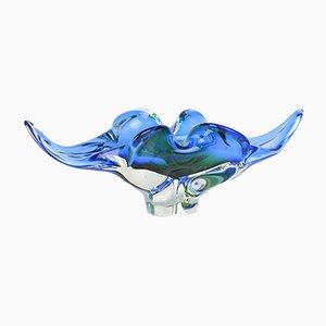 Cuenco de vidrio azul y verde de Josef Hospodka para Chribska Sklarna, años 60