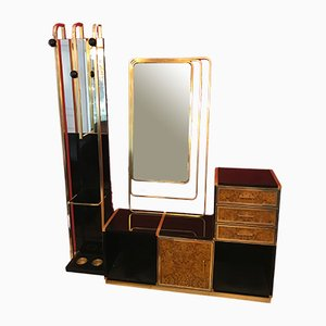 Cabinet and Mirror Set in the Style of Willy Rizzo, 1970s, Set of 3