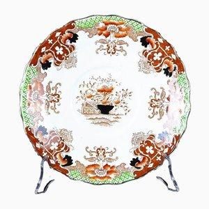 Plato antiguo de porcelana decorado con policromías de J.H.C. & Co. para Wellington China Longton England