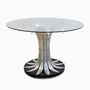 Mesa de comedor vintage de cromo cepillado y vidrio